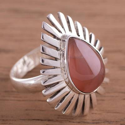 lets buy silver rings - Teardrop Rhodochrosite and Sterling Silver Cocktail Ring