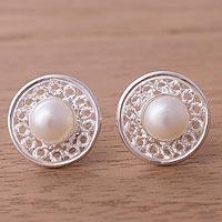Cultured pearl stud earrings,