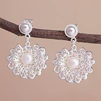 Cultured pearl dangle earrings, 'Resplendent Elegance' - Cultured Pearl and Sterling Silver Openwork Dangle Earrings