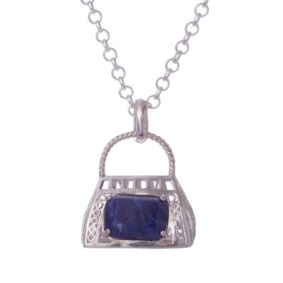 Sterling Silver and Sodalite Purse Pendant Necklace