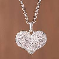 Sterling silver pendant necklace, 'Graceful Heart' - Handcrafted Sterling Silver Openwork Heart Pendant Necklace