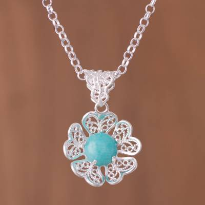 Amazonite pendant necklace, 'Sea Bloom' - Amazonite and Sterling Silver Flower Pendant Necklace