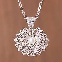 Cultured pearl pendant necklace, 'Resplendent Elegance' - Cultured Pearl and Sterling Silver Openwork Pendant Necklace