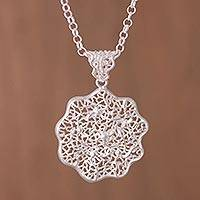 Sterling silver pendant necklace, 'Botanical Lace' - Sterling Silver Openwork Flower Pendant Necklace from Peru