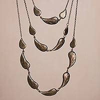 Bronze plated link necklace, 'Princess of Bronze Drops' - Bronze Plated Link Necklace Crafted in Peru