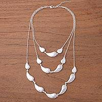 Silver plated link necklace, 'Princess of Silver Drops' - Three-Tiered Silver Plated Link Necklace from Peru
