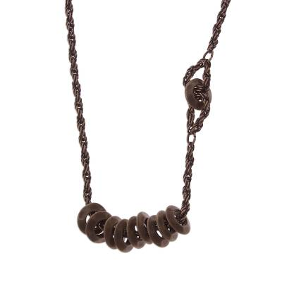 Bronze plated pendant necklace, 'Bronze Abacus' - Bronze Plated Disc Pendant Necklace from Peru