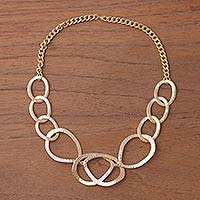Gold plated link necklace, 'Golden Modernity' - Gold Plated Modern Link Necklace from Peru