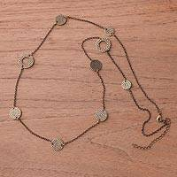 Bronze plated station necklace, 'Bronze Rings of Saturn' - Bronze Plated Station Necklace Crafted in Peru