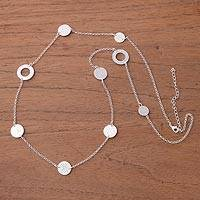 Silver plated station necklace, 'Silver Rings of Saturn' - Silver Plated Station Necklace Crafted in Peru