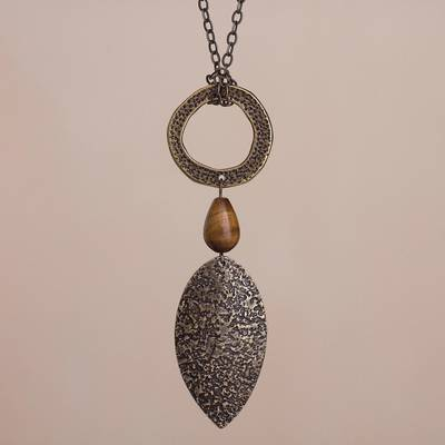 Bronze plated tiger's eye pendant necklace, 'Bronze Leaf in the Wind' - Bronze Plated Tiger's Eye Pendant Necklace from Peru