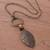 Bronze plated tiger's eye pendant necklace, 'Bronze Leaf in the Wind' - Bronze Plated Tiger's Eye Pendant Necklace from Peru (image 2b) thumbail