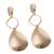 Gold plated dangle earrings, 'Gold Desire' - Gold Plated Dangle Earrings with Hammered Finish from Peru (image 2c) thumbail