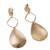 Gold plated dangle earrings, 'Gold Desire' - Gold Plated Dangle Earrings with Hammered Finish from Peru (image 2d) thumbail