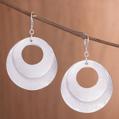 Silver plated dangle earrings, 'Rings of Silver' - Fine Silver Plated Dangle Earrings with Textured Round Shape