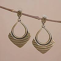 Bronze plated dangle earrings, 'Draped Elegance in Bronze' - Bronze Plated Dangle Earrings with Textured Antiqued Finish