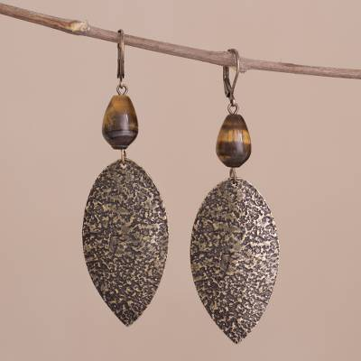 Tigers eye dangle earrings, Plumes of Bronze