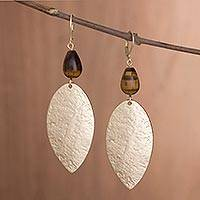 Gold plated tiger's eye dangle earrings, 'Plumes of Gold' - Peruvian Long Tiger's Eye Dangle Earrings Crafted by Hand