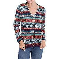 100% baby alpaca cardigan, 'Layered Intricacy' - Multicolor Stripe Alpaca Long-Sleeve V-Neck Knit Cardigan