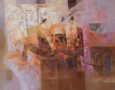 'Profiles' - Signed Amber-Hued Abstract Painting from Peru