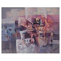'Liberty' - Signed Pink and Purple Abstract Painting from Peru