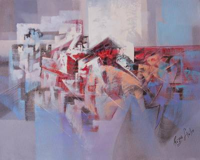 'Urban Forms II' - Signed Angular Abstract Painting from Peru