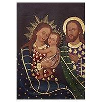 'Holy Family Portrait' - Colonial Replica of Holy Family Portrait from Peru