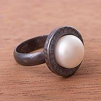 Cultured pearl cocktail ring, 'The Pearl of Asgard' - Cultured Pearl and Sterling Silver Ring with Oxidized Finish