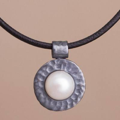 Cultured pearl pendant necklace, 'The Pearl of Asgard' - Peruvian Sterling Silver and Cultured Pearl Pendant Necklace