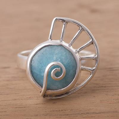 amber necklace - Amazonite and Sterling Silver Snail Cocktail Ring from Peru