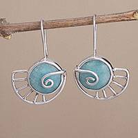 Amazonite drop earrings, 'Snail's Pace' - Peruvian Sterling Silver and Amazonite Snail Drop Earrings