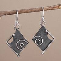 Sterling silver dangle earrings, 'Freeform Beauty' - Peruvian Modern Style Sterling Silver Dangle Earrings