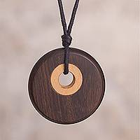 Wood pendant necklace, 'Modern Target' - Oreja de Leon and Ipe Reclaimed Wood Circle Pendant Necklace