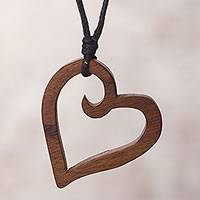 Wood pendant necklace, 'The Beat of Nature's Heart' - Peruvian Reclaimed Wood Pendant Necklace with Heart Shape