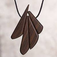 Wood pendant necklace, 'Autumn Daydream' - Peruvian Modern Pendant and Cord Necklace with Recycled Wood