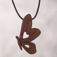 Wood pendant necklace, 'Free to Fly' - Butterfly Pendant Necklace with Recycled Wood from Peru