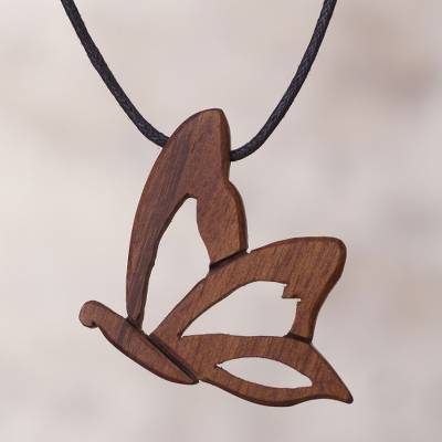Wood pendant necklace, 'Natural Rebirth' - Peruvian Wood Pendant Necklace with Butterfly Motif