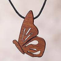 Wood pendant necklace, 'Earthy Butterfly' - Hualtaco Wood Butterfly Pendant Necklace from Peru