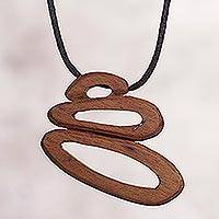 Wood pendant necklace, 'Modern Sensation' - Abstract Wood Pendant Necklace from Peru