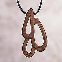 Wood pendant necklace,