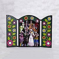 Ceramic retablo, 'Party in the Cemetery' - Hand-Painted Day of the Dead Ceramic Retablo from Peru