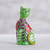 Ceramic figurine, 'Sweet Cat in Green' - Green Artisan Crafted Floral Ceramic Cat Figurine from Peru