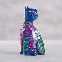Ceramic figurine, 'Sweet Cat in Blue' - Peruvian Artisan Crafted Floral Ceramic Cat Figurine in Blue