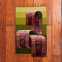 Wool area rug, 'Incan Ribbon' (1.5 x 2) - Green Handwoven Inca-Inspired Colorful Motif Wool Area Rug