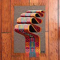 Wool area rug, 'Incan Ripple' (1.5 x 2) - Taupe Handwoven Inca-Inspired Colorful Motif Wool Area Rug