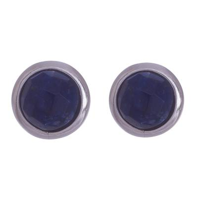 Sodalite and Sterling Silver Button Earrings from Peru