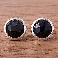 Obsidian button earrings,