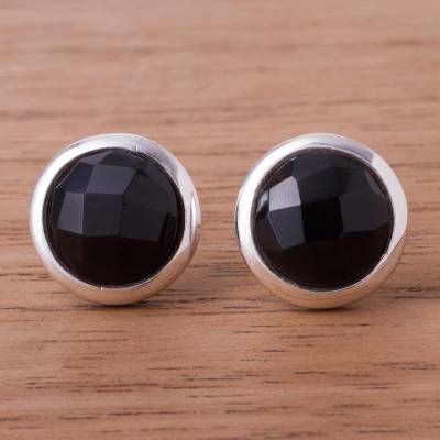 Obsidian button earrings, 'Circular Treasures' - Circular Obsidian Button Earrings from Peru