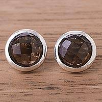 Smoky quartz button earrings, 'Circular Treasures' - Circular Smoky Quartz Button Earrings from Peru