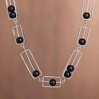 Obsidian link necklace, 'Modern Brilliance' - Modern Obsidian Link Necklace from Peru